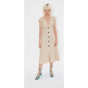 Zara rustic linen midi dress
